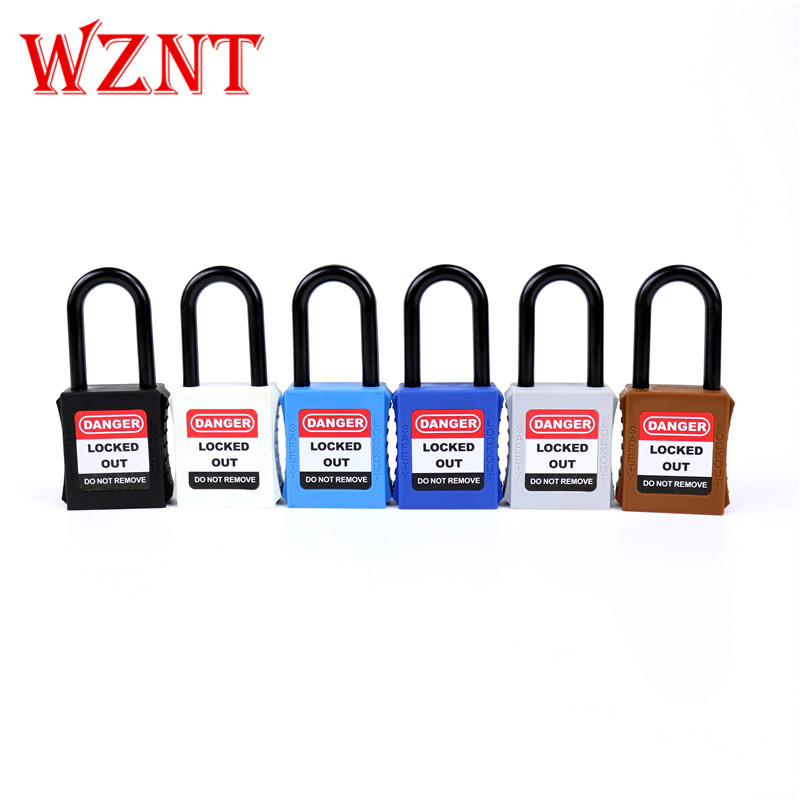2pcs free shipping 38mm Nylon Shackle Safety Lockout font b Padlock b font with font b