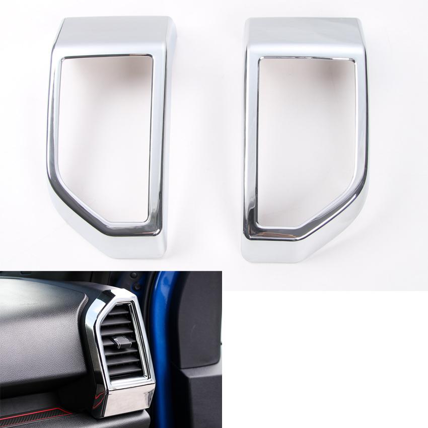 YAQUICKA 2Pcs/set Car Front Dashboard Left and Right Air Vent Frame Trim Styling Sticker Fit For Ford F150 2015 2016 2017 for jaguar f pace f pace x761 car styling abs chrome front fog lamp frame cover trim accessories set of 4pcs