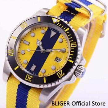 BLIGER сапфировое стекло 40 мм синий белый циферблат черный керамический ободок MIYOTA автоматическое движение Мужские наручные часы нейлоновый ...