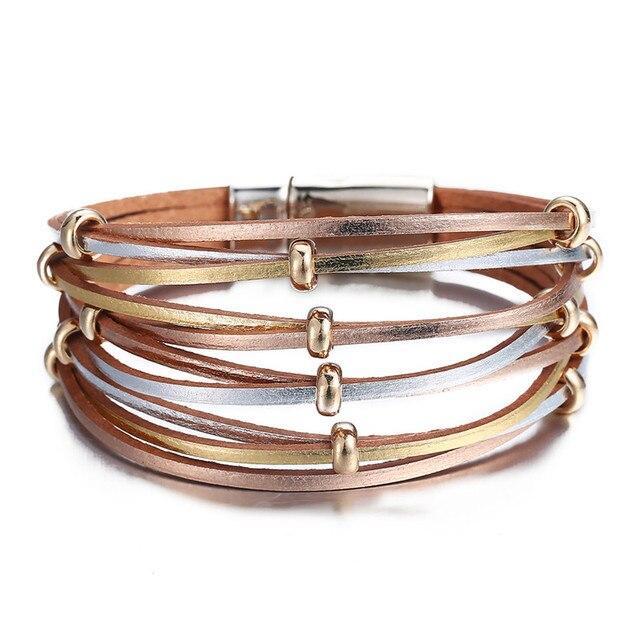 Fashion Wrap Couples Bracelet For Women Men Multiple Layers Leather Bracelets 2