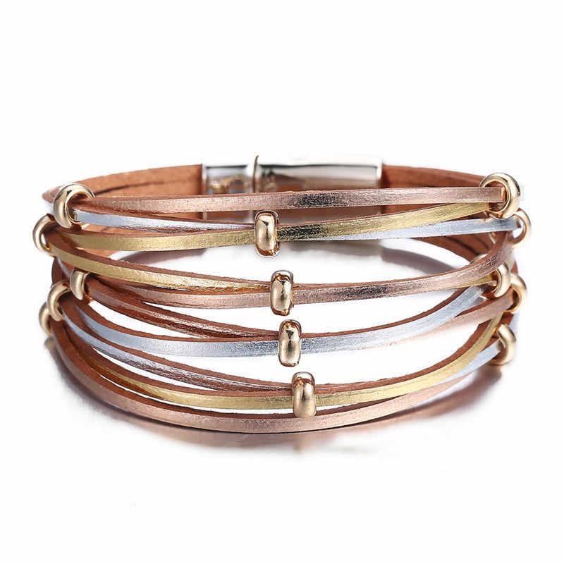 17KM nowa moda Wrap pary bransoletka dla kobiety mężczyźni wielu warstw skórzane bransoletki ze zjeżdżalnią proste oświadczenie biżuteria 2019