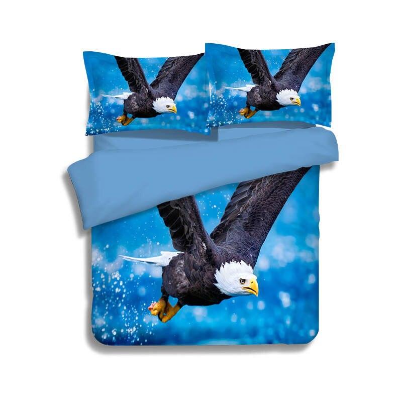 Aigle oiseaux 3D imprimé couette ensembles de literie double reine complète roi taille couette/housse de couette 3pc garçons adultes linge de lit couleur bleue