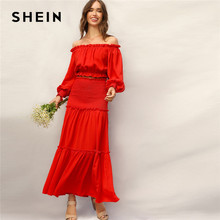 34ea5fc5c5 SHEIN Boho Red Frill Off Shoulder Smocked Cuff Crop Top and Shirred Panel  Frill Trim Maxi