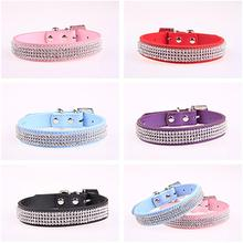 Bling Collar Rhinestone PU Leather Crystal Diamond Puppy Collar Pet Dog Collars Pets Supplies Dog Accessories bling pet dog collars pu leather 3 row rhinestone pet puppy cat fashion necklace dog leads and collars for small dogs collar led