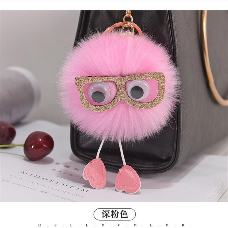 Key Rings Gifts Pendant Portable Car Keyring Cute Cartoon Jewelry Women Bag Faux Rabbit Fur Fashion Key Chain Accessories Backpack Interior Accessories