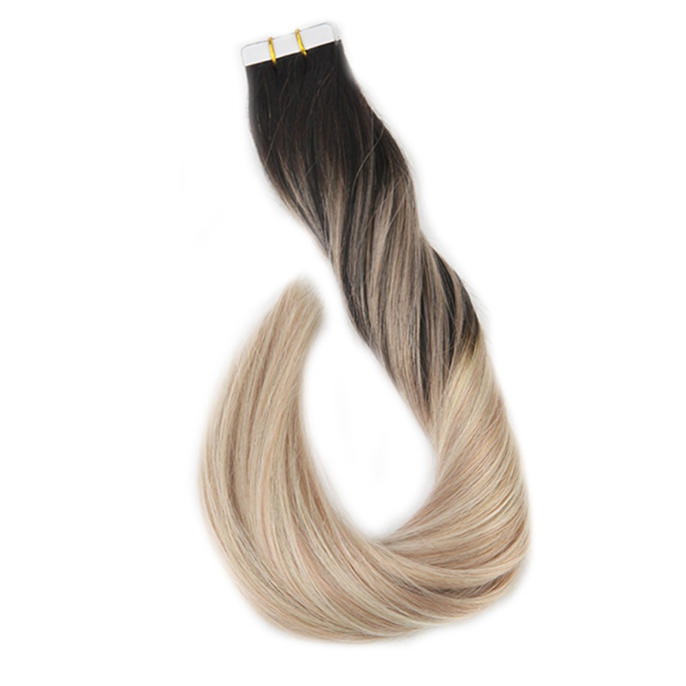 Full Shine Balayage Color Omber 100% Human Hair Tape In Extensions 20 Pcs 50g  Blonde Brown Tape On Extensions Machine Made Remy