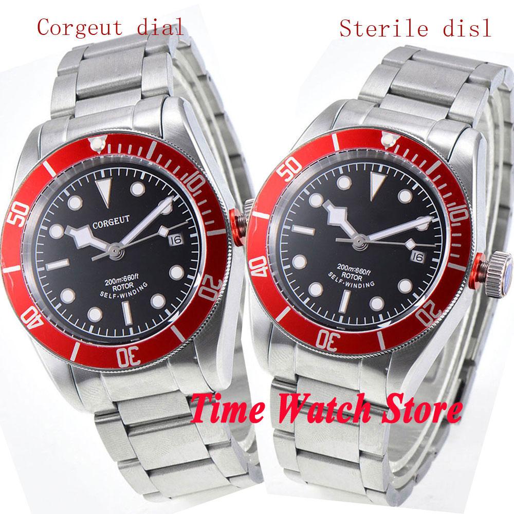 39081f77c28 CORGEUT 41mm black watch dial luminous dos homens vidro de safira bezel  vermelho pulseira de metal