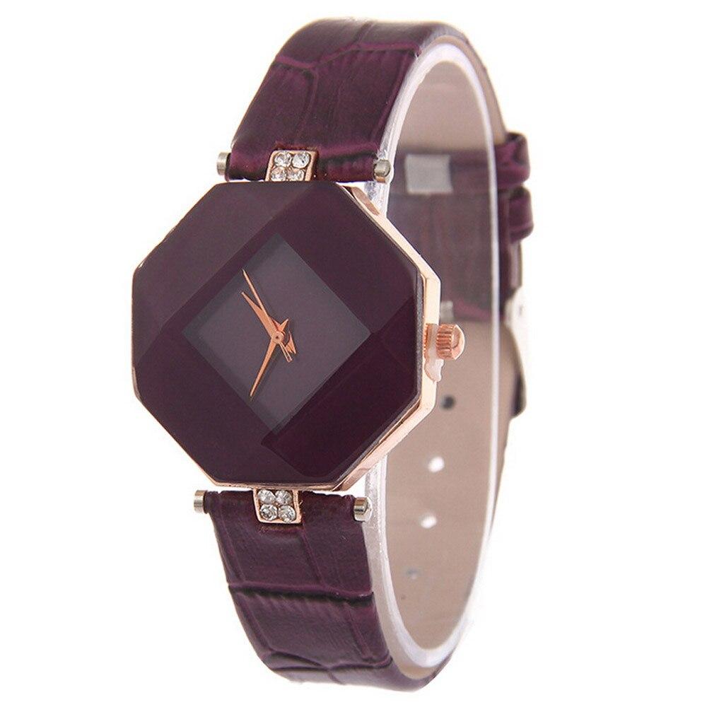 Hoogwaardige Vrouwen Horloges 2017 Nieuwe 5 Kleur Sieraden Horloge Mode Gift Tafel Jewel Gem Cut Zwart Geometrie Quartz Horloges #60
