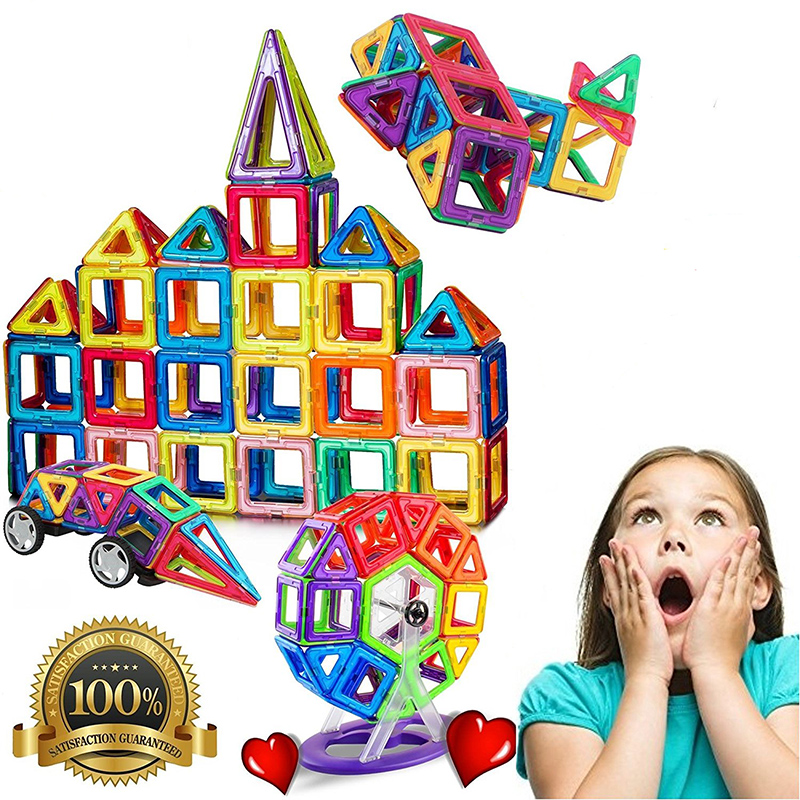 Magnetic Building Blocks All of Which Are Actual Strong Magnetic Tiles Educational Stacking Blocks Boys Girls Toys for Children 32pcs magnetic tiles building mini magnetic blocks solid 3d magnetic block building toys for children bricks