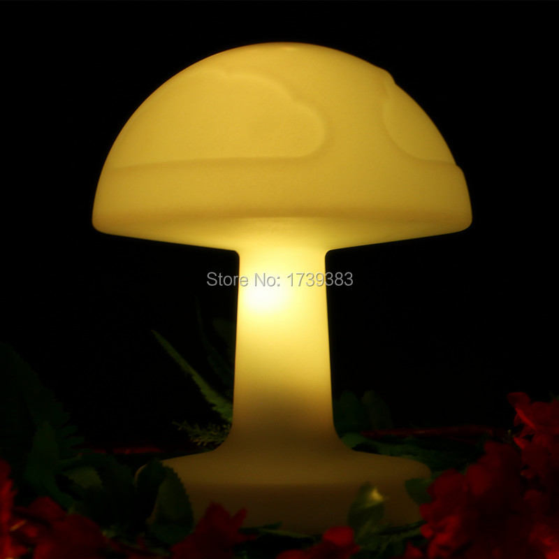 4 Pcs/lot Color Changing Rechargeable Plastic LED Mushroom Desk Table Lamp  Remote Control Bedroom Baby Sleeping Lighting