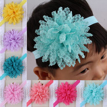 1 piece Sweet Color Kids Flower Headband Ribbon Flower with Thin Hairband Photography Props Girls Tiara Headwrap(China)