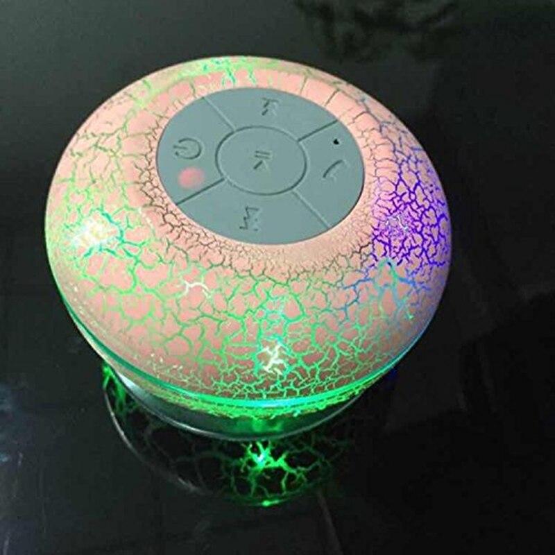 Мини Водонепроницаемый душ Динамик Портативный bluteooth Динамик со встроенным микрофоном с LED красочные огни