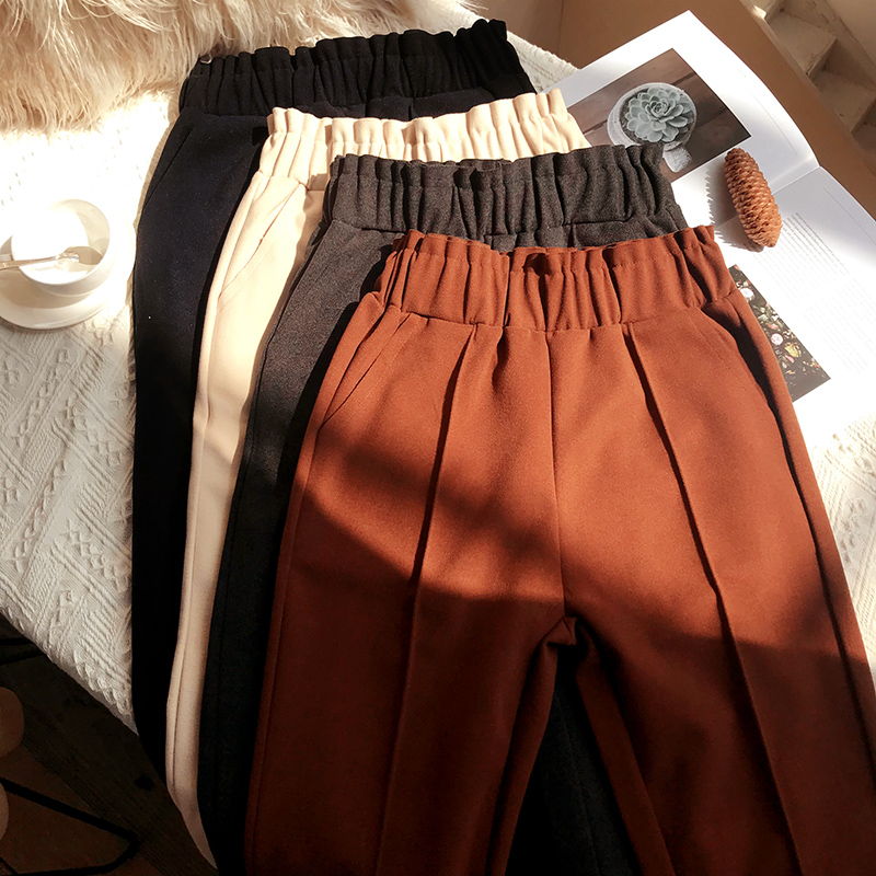 2018 Autumn Winter New Small Foot Radish   Pants   High Waist Loose Leisure Hairy   Pants   Children Nine   Wide     Legs   Haren   Pants