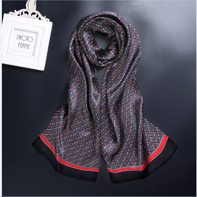 Scarf Fashion Flowers Neckerchiefs Cravat Satin Paisley Silk Vintage Check 75-Colors title=