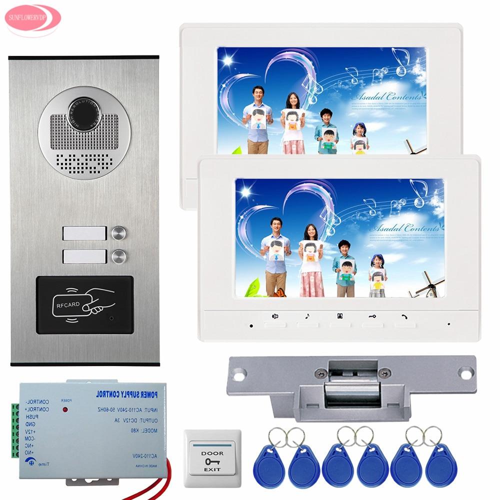 все цены на 7'' LCD Video Door Phone Intercom System 2 Monitors + RFID Access Door Camera For 2 Apartment Strike Electric Lock System Unit онлайн
