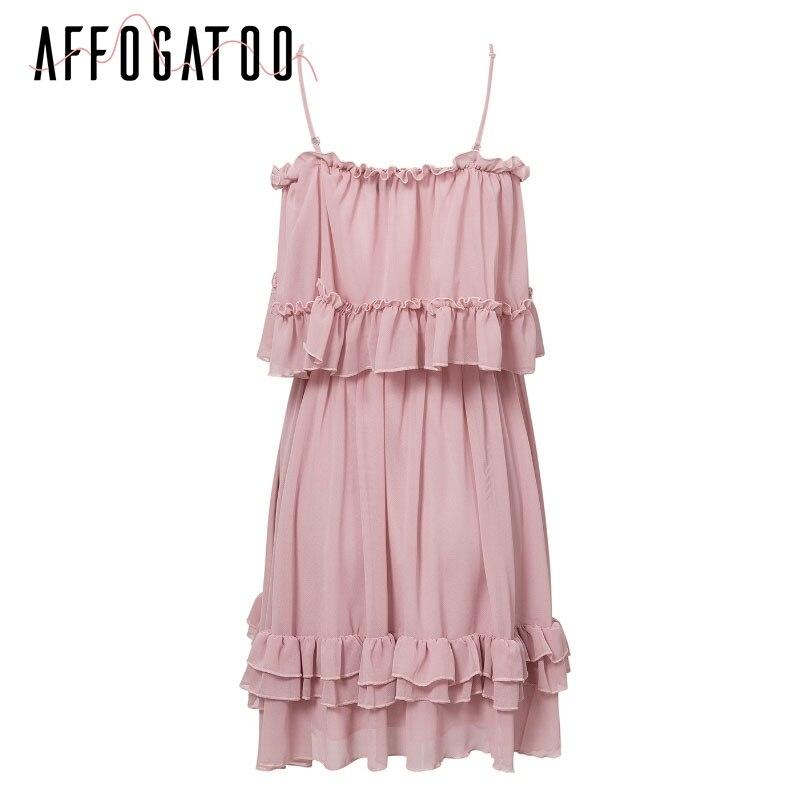 Affogatoo Elegant ruffle off shoulder strap summer pink dress women Casual chiffon pleated blue dress Loose holiday short dress 8