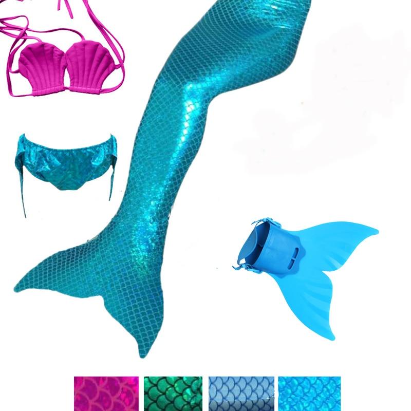 4Pcs Little Mermaid Tails Swimming Costumes Cosplay with Monofin Kid Swimmable Suit Zeemeerminstaart Cola De Sirena Cauda
