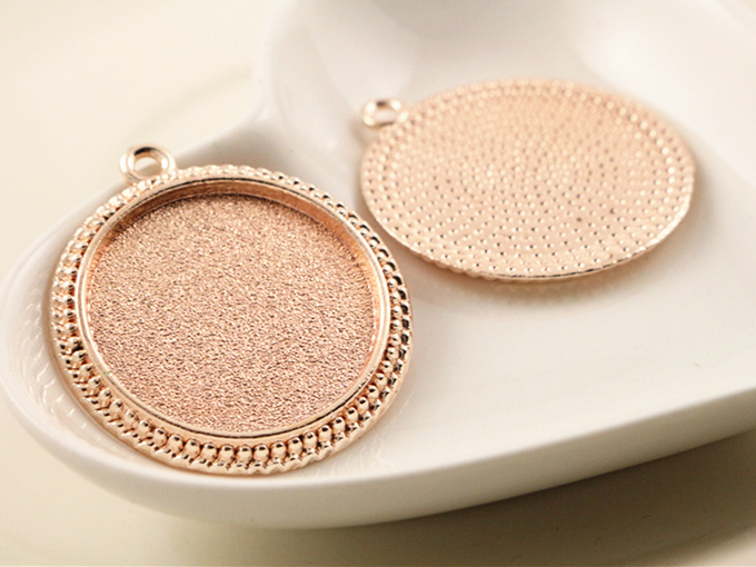 High Quality 3pcs 25mm Inner Size Rose Gold plated  Cameo Base Setting Stars Style Pendant (A6-41)