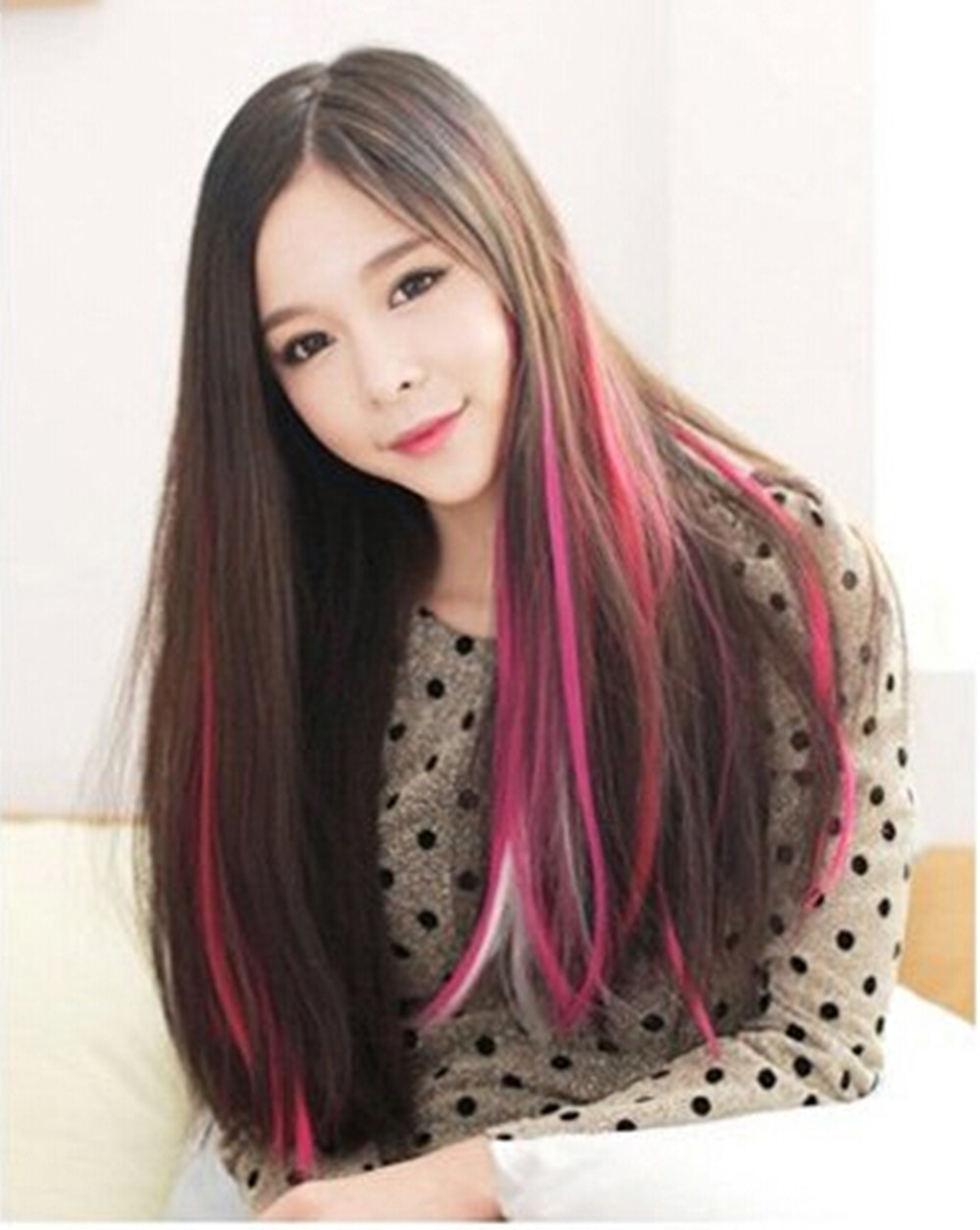 2f633fe84f 55cm Colored hair piece Straight hair wig pieceCOS European punk Harajuku  color streaked wig piece wig on Aliexpress.com | Alibaba Group