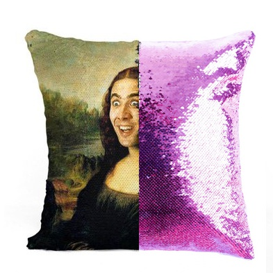 Nicolas Cage Mona Lisa sequin Reversible Color ChangingPillowcase gift for her gift for him pillow magic pillow in Cushion Cover from Home Garden