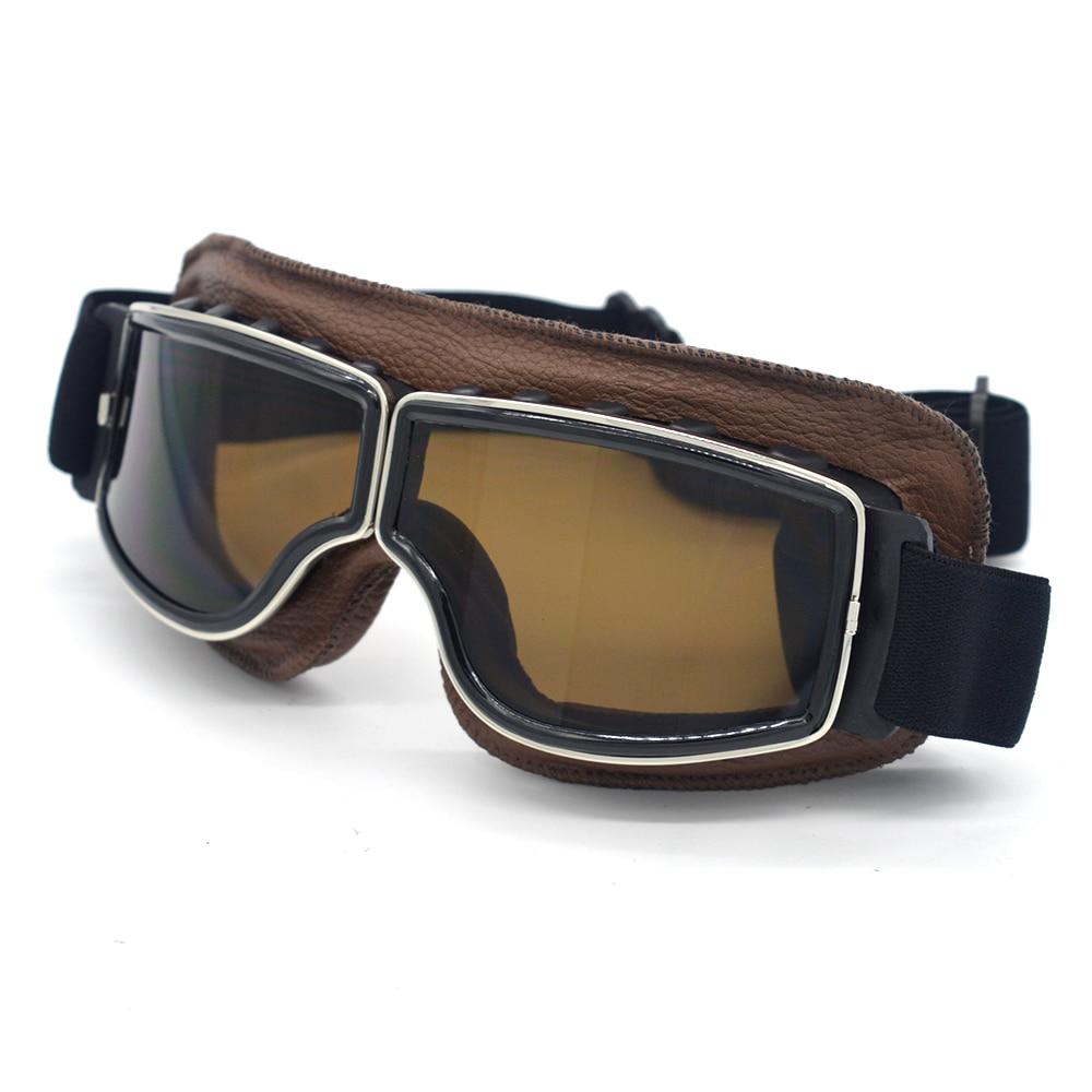 Evomosa Retro Motorcycle Goggles Glasses Cruiser Vintage Leather Glasses Cafe Racer Half Helmet Goggles For Harley 2018