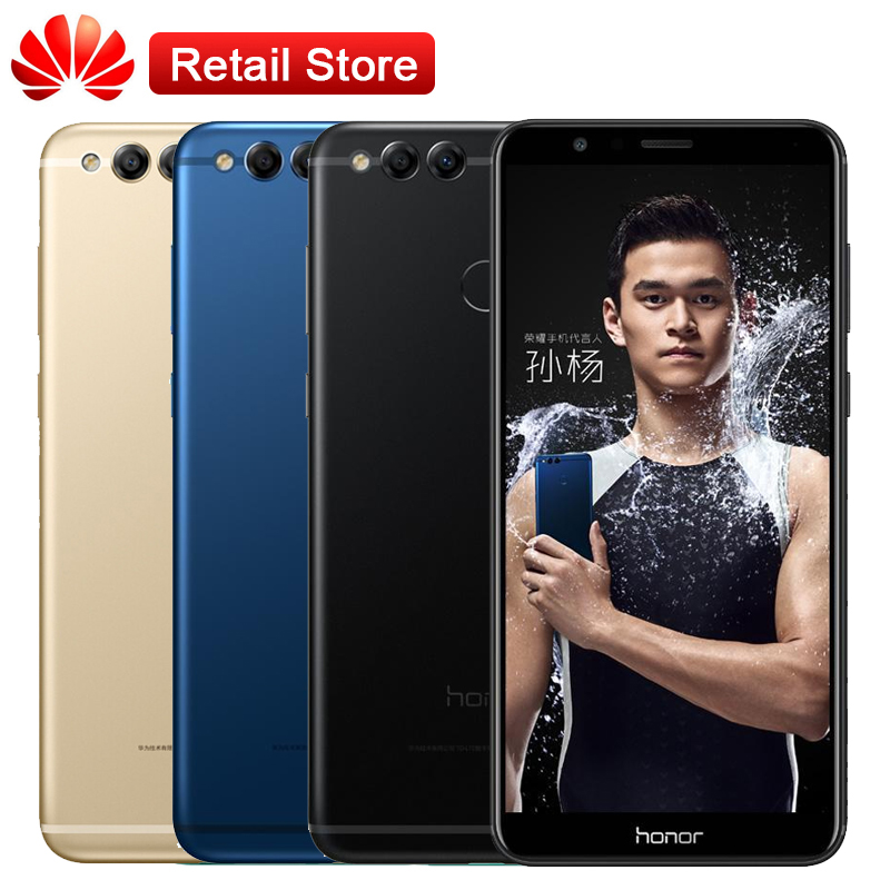 """Huawei Honor 7X 4GB RAM 32GB ROM 5.93""""Octa Core Full View Screen 2160*1080P 3 Cameras Android 7.0 Fast Charge Fingerprint Phone"""