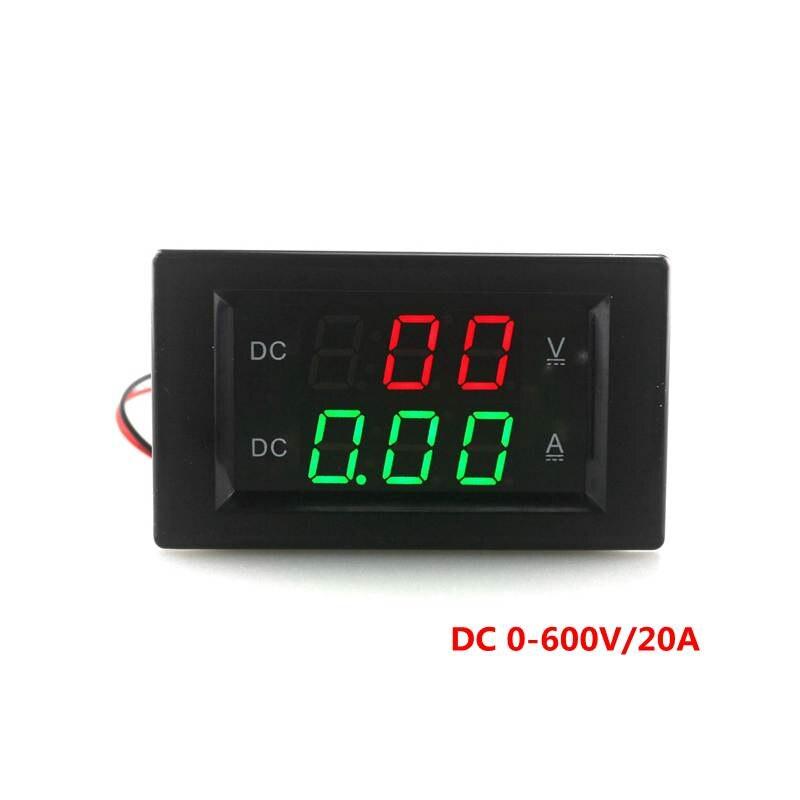 DC 0-600 V/20A Numérique Voltmètre Ampèremètre DC VOLT AMP Testeur Gauge rouge vert Led