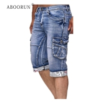 ABOORUN Men's Fashion Denim Cargo Shorts Big Pockets Patchwork Shorts Summer Casual Cargo Shorts for Male R1031
