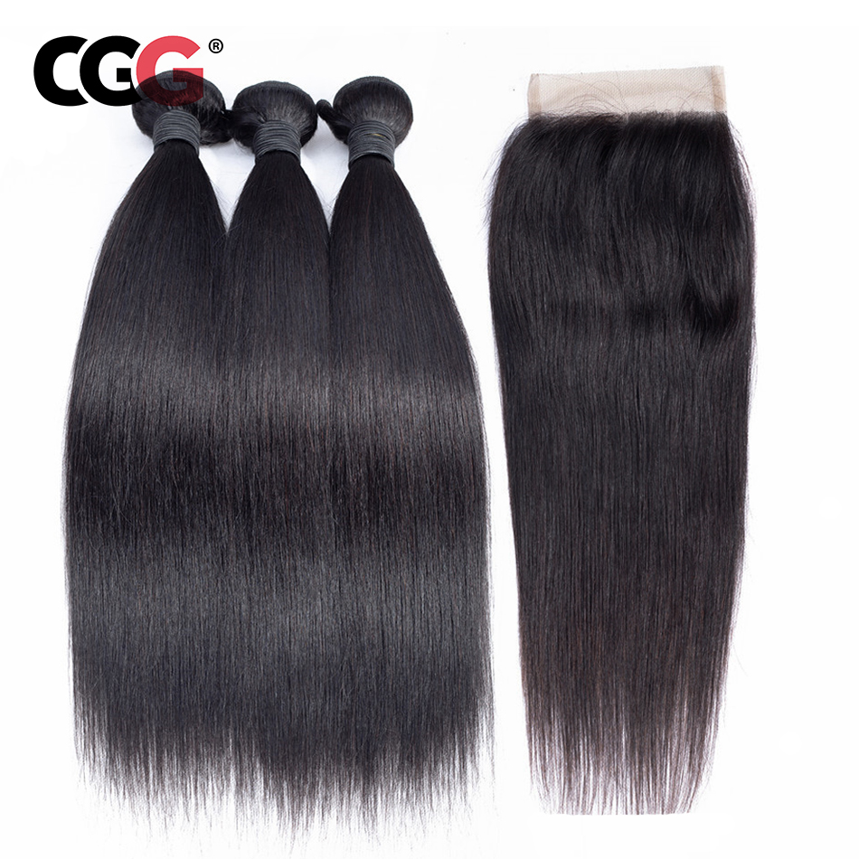 CGG Peruvian Hair Bundles With Closure Straight 3 Bundles Human Hair Weave Non Remy Natural Color