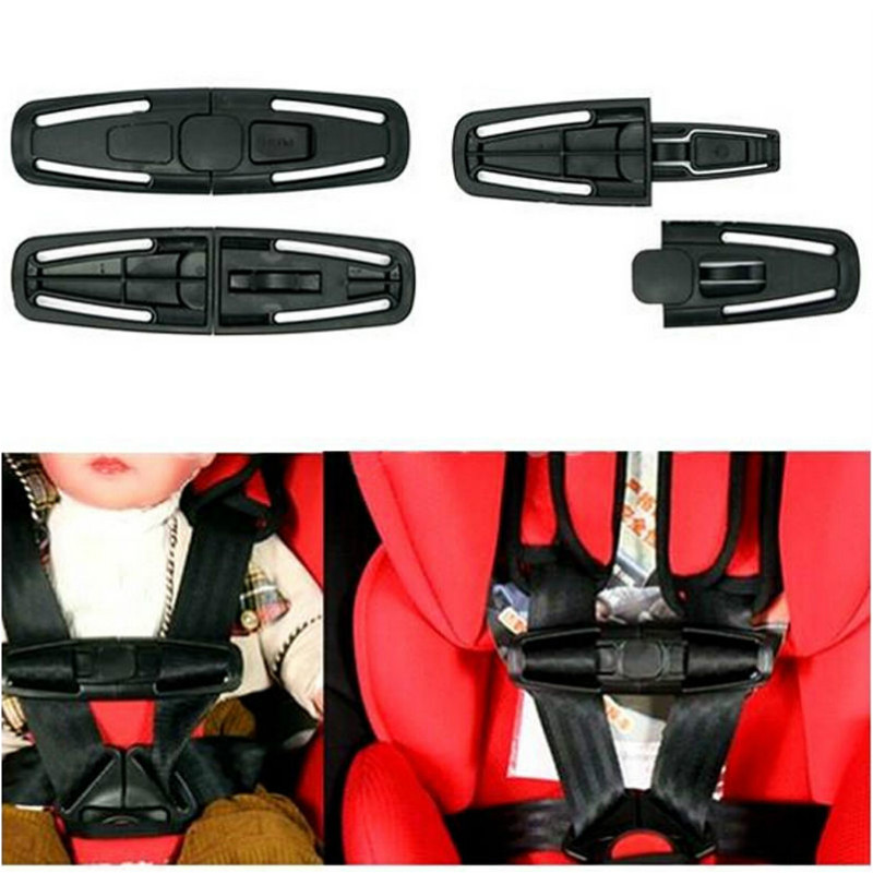 Black Car Baby Safety Seat Clip Fixed Lock Buckle Safe Belt Strap Harness Chest Child Clip Toddler Clamp Latch Car Seat Belt