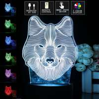Wolf Head 3D LED Illusion Night Light 7 Color Changing Touch Desk Lamp With Remote Control