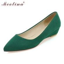 Meotina Coins Femmes Casual Chaussures Femmes Bout Pointu Talons Bas De Base pompes Talons Compensés Chaussures Vert Rouge Grande Taille 9 10 41 43