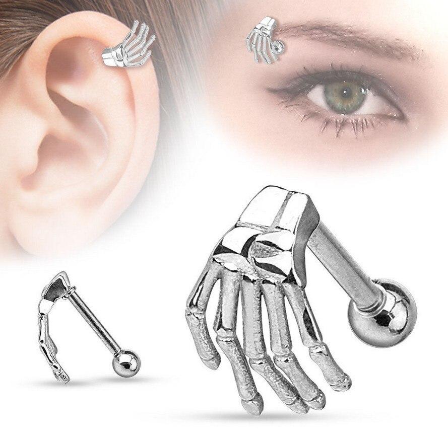 1 Piece Fashion Tragus Ear Eyebrow Piercing Jewelry Hand 316L Stainless Steel Cartilage Helix Body Jewelry body jewelry