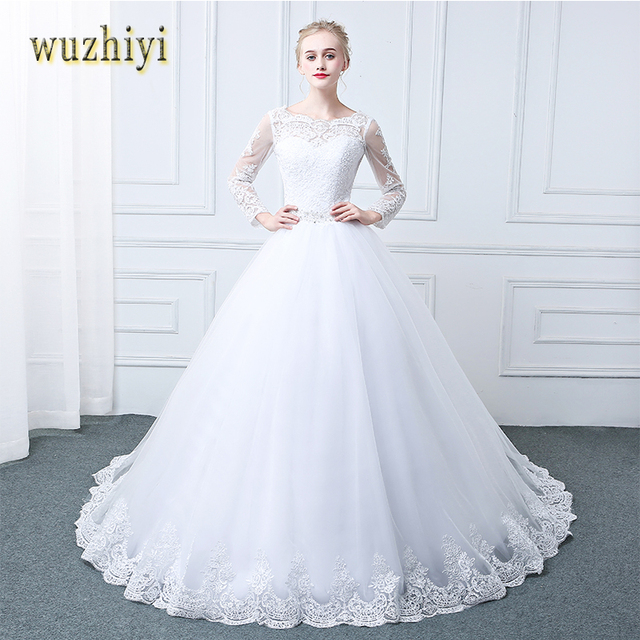 wuzhiyi Vestidos de Noiva Long Sleeves 2017 wedding dress With Crystal Lace Bridal Gowns Custom Made Lace-up mariage robe de