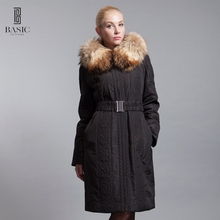 BASIC-EDITIONS 2016 New Women's Clothing Embroidered Long Parka  Fox Fur Collar Female Jacket Luxury Women Cotton Coat  D12101