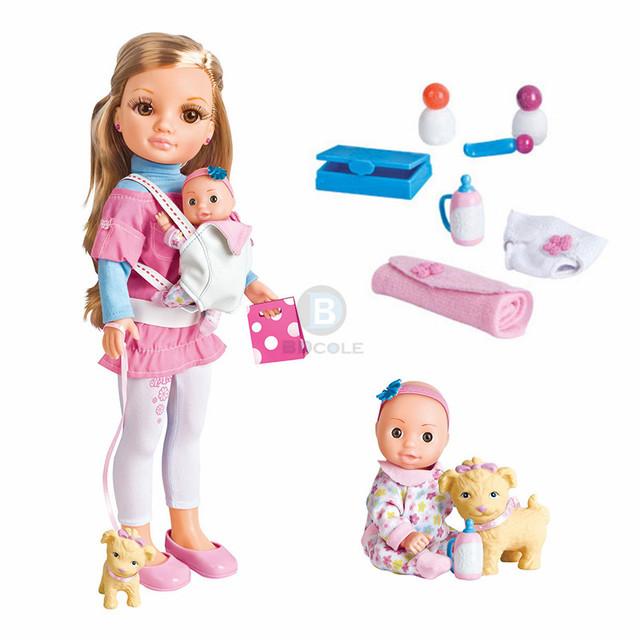 Mais novo 17 polegadas Super Linda Menina Silicone Lifelike Boneca Maylla jovem Mãe e do bebê boneca incluem Pet & Baby Doll acessórios