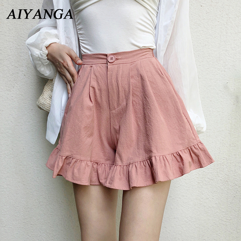 2018 Summer New Cotton   Shorts   Female Wide Leg   Shorts   High Waist   Shorts   Women Elastic Waist Fashion Ruffles Solid Pink Apricot