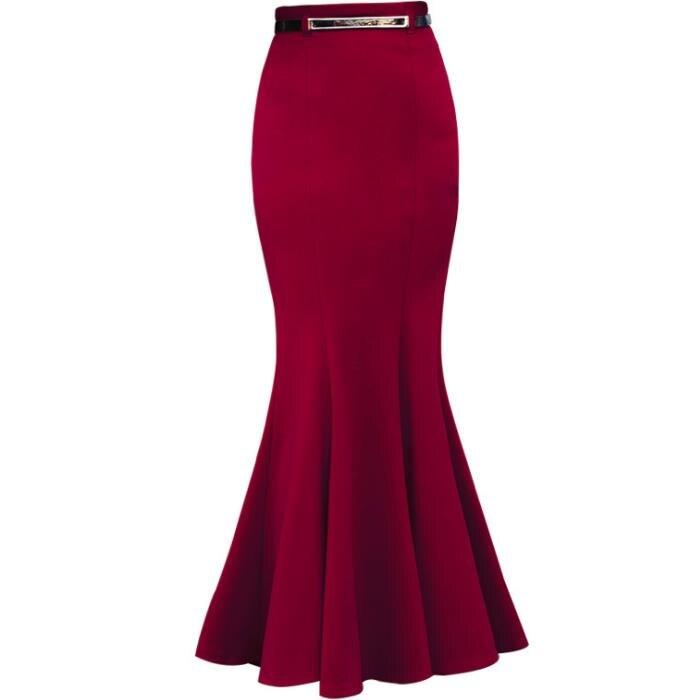 Autumn Winter Package Hip Vintage Long Mermaid Skirt Women Elegant Office Lady Trumpet Skirts With Free Belt Plus Size 3XL