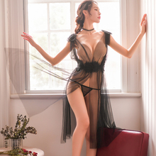 Sexy Lingerie Elegant Women New Ultrathin Gauze Sheer Homewear Long Dress Vintage Nightgowns Night Sleepwear Intimates
