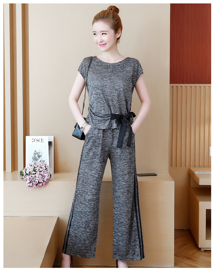 Plus Size Summer 2 Piece Sets Women Short Sleeve Bow Tops And Wide Leg Pants Sets Suits Casual Fashion Women's Two Piece Sets 41