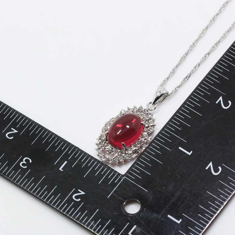 MANNY Gracious Rose Red Crystal 925 Silver Brides Jewelry Sets Earring Pendant Ring Necklace Chain Free Gift Box T98