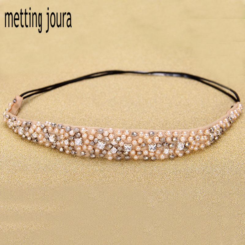 Metting Joura Women Girls Bohemian Vintage Cubic Beads Crystal Rhinestone Headband Hair Accessories vintage bohemian ethnic colored tube seed beads flower rhinestone handmade elastic headband hair band hair accessories