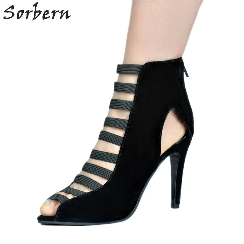 Sorbern Fashion Shoes Women Sandals Women 2017 Summer Extrem High Heels Elastic Front Runway Shoes Open Toe Sandals Back Zipper