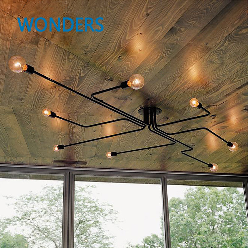 ФОТО Retro industrial loft Nordic pipe Wrought iron ceiling light lustre lamps for home decor restaurant dinning cafe bar room