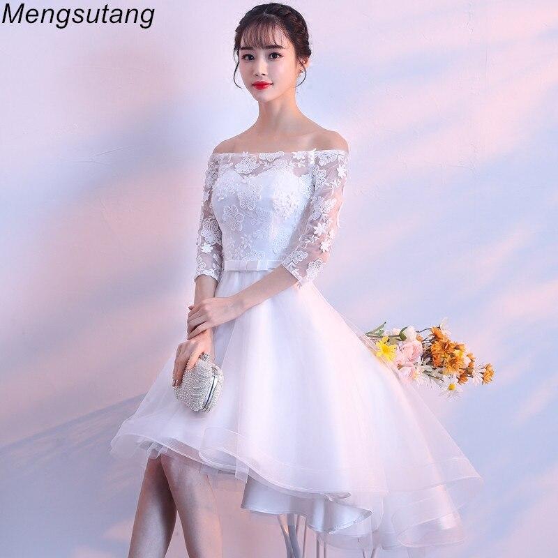 Robe de soirée blanche à lacets Slim épaule dénudée Robe de soirée festa Appliques courtes devant longues dos robes de bal
