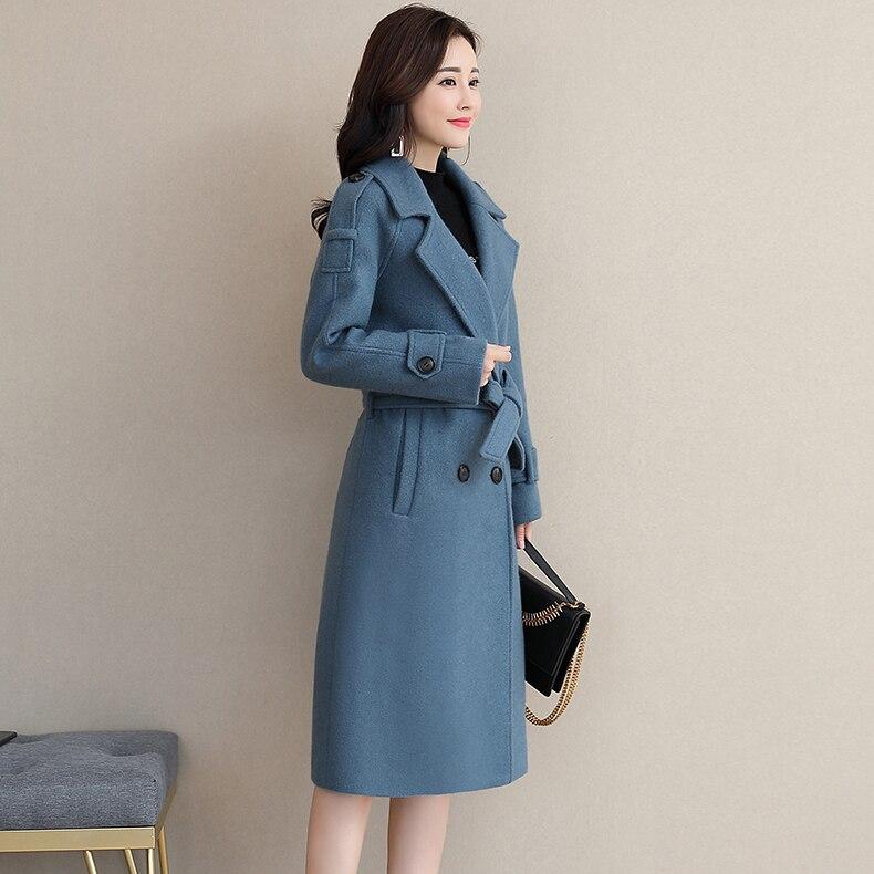 Version Laine kaki La Femmes pourpre Nizi Manteau bleu Long Populaire Coréenne 2018 Noir De Automne Nouvelles D'hiver Et an4qOz