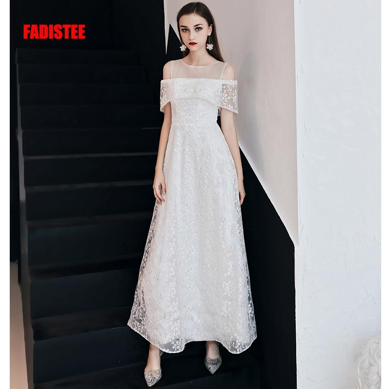 FADISTEE New arrival evening elegant   prom     dresses   Vestido de Festa gown Robe De Soiree lace O-neck ivory little white   dresses