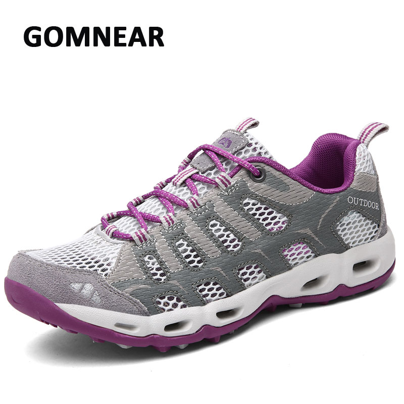 GOMNEAR Outdoor Mountain Hiking Shoes Women Breathable Non-slip Comfortable Mesh Sneakers Camping Trendy Chaussure Female Sports new women hiking shoes outdoor sports shoes winter warm sneakers women mountain high tops ankle plush zapatillas camping shoes