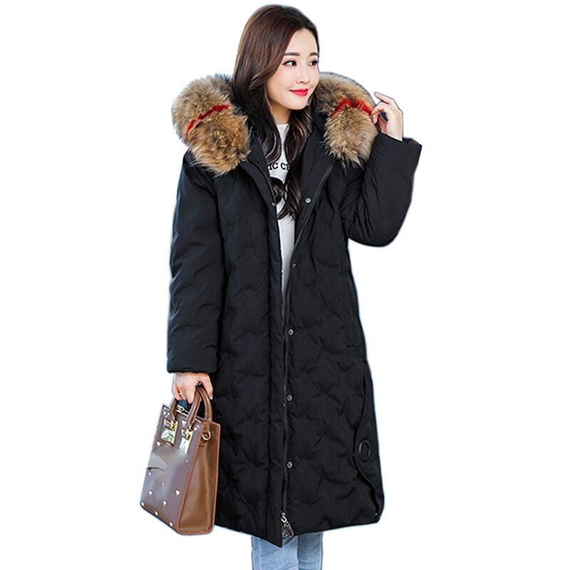 Snow Female Jacket Large Fur Winter Jacket Women 2018 Warm Thicken Hood Winter Coat Women Cotton Down   Parka   Plus Size long coat