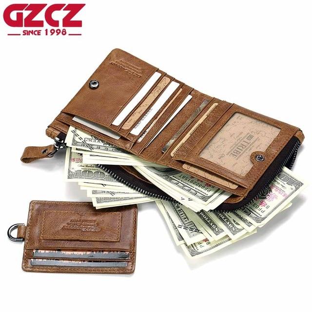 b92ce2009234 GZCZ Genuine Leather Wallet Men Vintage Male Cuzdan Purse Clamp For Money  Photo Holder Zipper Poucht